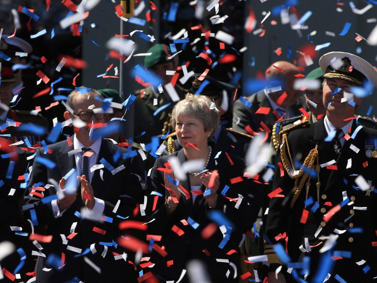 Prime Minister Theresa May during the celebrations for National Armed Forces Day in Llandudno, Wales. PRESS ASSOCIATION Photo. Picture date: Saturday June 30, 2018. See PA story DEFENCE Forces. Photo credit should read: Peter Byrne/PA Wire