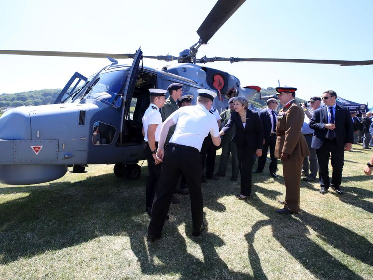 Prime Minister Theresa May meets members of the Armed Forces