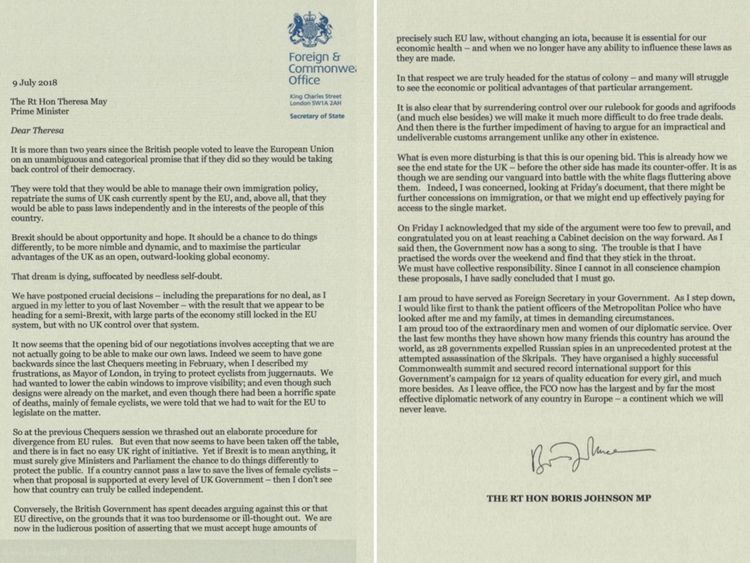 Boris Johnson wrote a two-page resignation letter to Theresa May