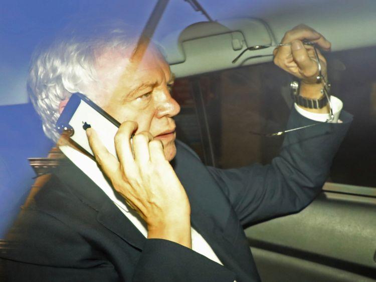 David Davis pictured leaving the BBC after giving an interview on Radio 4