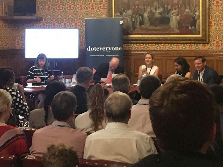 Doteveryone panel featuring (L-R) Rachel Caldicott, Liam Byrne MP, Baroness Lane-Fox, Kriti Sharma, Ed Vaizey MP