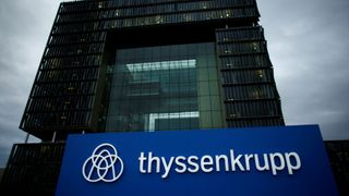 A logo of ThyssenKrupp AG is pictured outside their headquarters in Essen