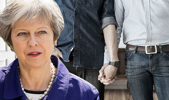 Theresa May and same sex people holding hands