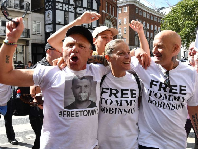 Supporters of Tommy Robinson