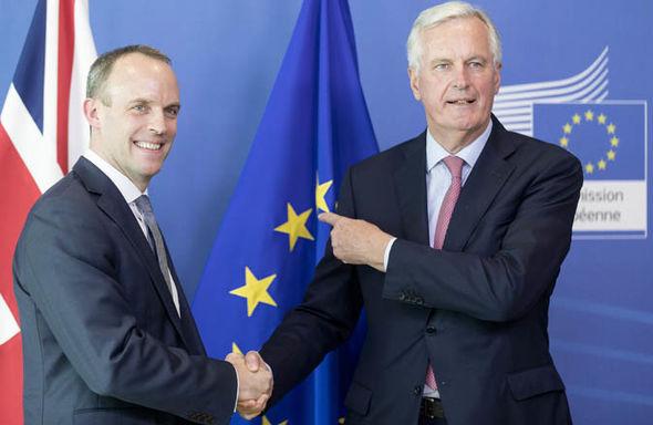 Brexit Secretary Dominic Raab and European Chief Negotiator Michel Barnier