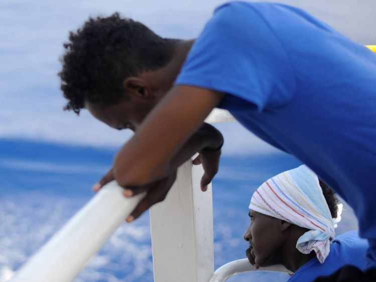 Migrants picked up the Doctors Without Borders Sea boat the Aquarius. 141 were rescued and are now being refused permission to dock in Italy and Malta. Pic: Guglielmo Mangiapane/ SOS Mediterranee