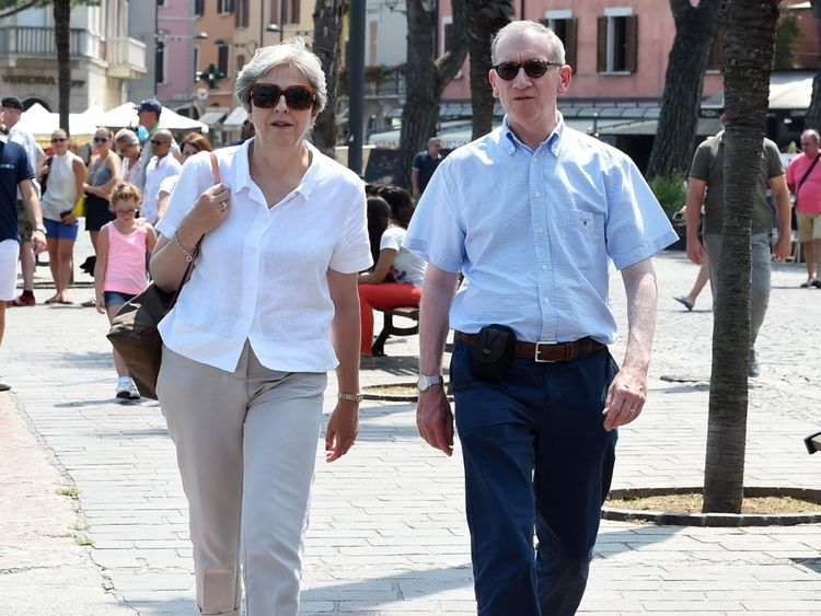 Prime Minister Theresa May and her husband Philip visit Desenzano del Garda in Italy, during their summer holiday