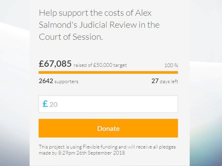 Crowdfunder set up by Alex Salmond