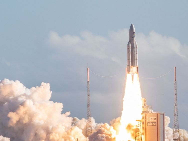 TOPSHOT - The Ariane 5 rocket, with four Galileo satellites onboard, takes off from the launchpad in the European Space Centre (Europe spaceport) on July 25, 2018 in Kourou, French Guiana. (Photo by - / AFP) (Photo credit should read -/AFP/Getty Images)