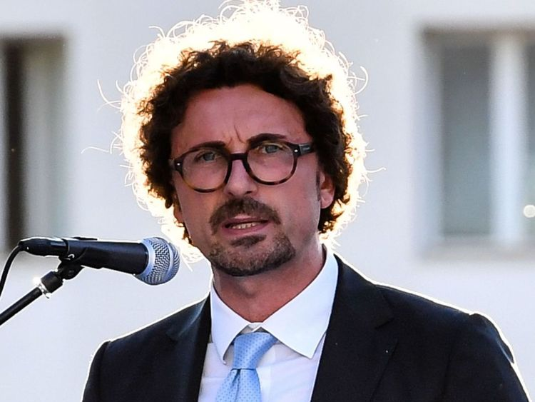 Italy's Infrastructure and Transport Minister Danilo Toninelli delivers a speech during a ceremony for the 153rd anniversary of the Italian Coast Guard (Guardia Costiera) at the command headquarters of the Italian Coast Guard Authorities in Rome, on July 18, 2018. (Photo by Andreas SOLARO / AFP) (Photo credit should read ANDREAS SOLARO/AFP/Getty Images)