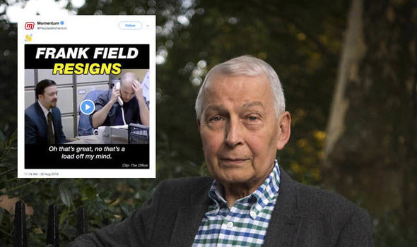 Momentum shared a 'pathetic' Tweet as Frank Field resigned