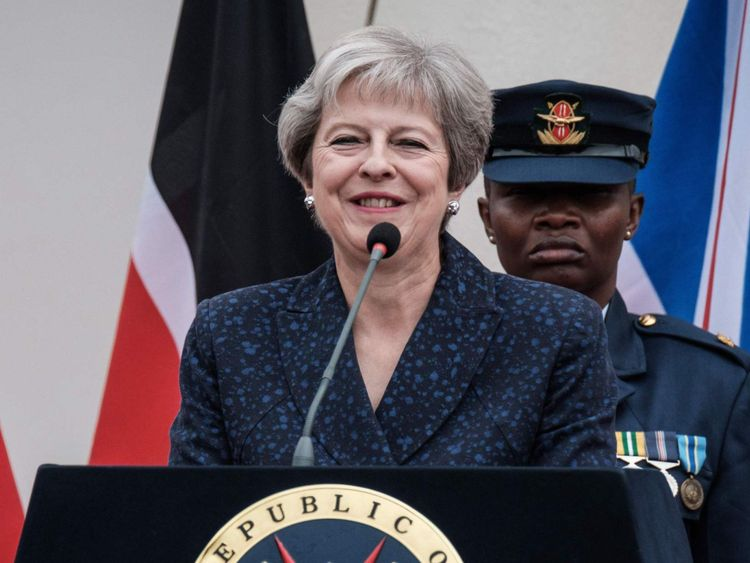 Theresa May spoke in Nairobi, Kenya, during her tour of Africa