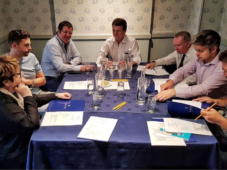 Leader Gerard Batten (centre, top) during the UKIP strategy meeting where they discussed a revamped manifesto. Pic: @UKIP
