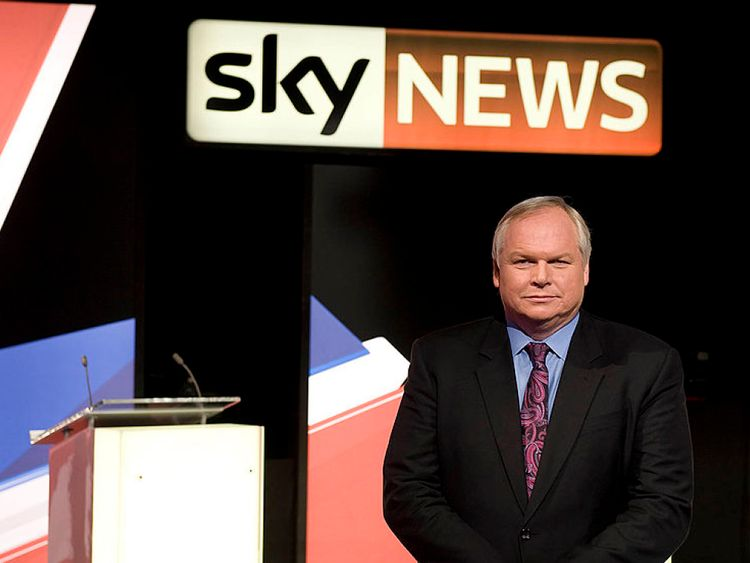 Adam Boulton awaiting the start of a live three-way election debate in 2010