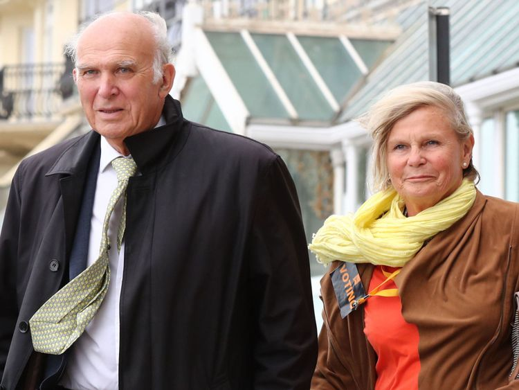 Liberal Democrats Leader Sir Vince Cable, accompanied by his wife Rachel arrives to speak at the Liberal Democrats Autumn Conference in Brighton