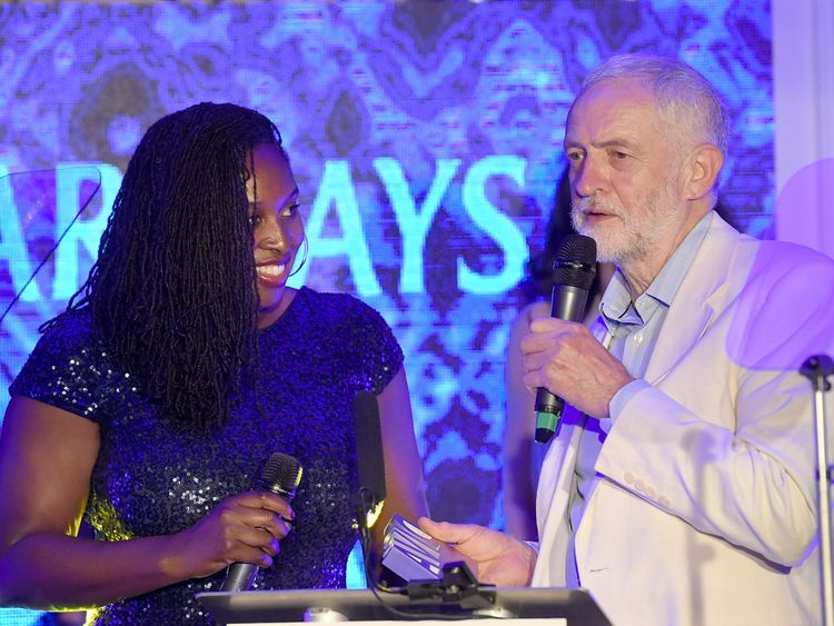 Labour MP Dawn Butler with Labour leader Jeremy Corbyn in June
