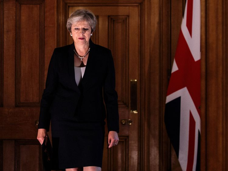 Theresa May gave a statement after returning from Salzburg