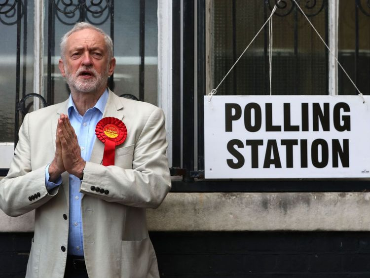 Labour leader Jeremy Corbyn poses at a polling station after casting his vote in local elections in London