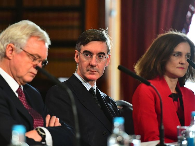 (Left to right) David Davis MP, Jacob Rees-Mogg MP and Theresa Villiers MP