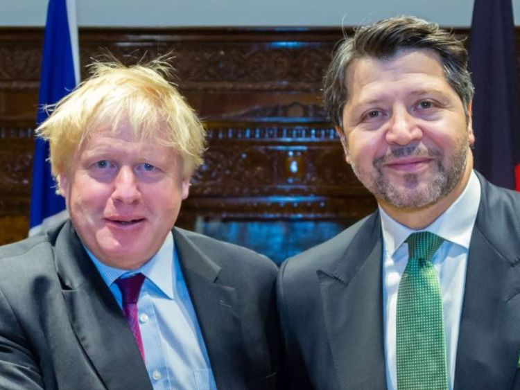 Boris Johnson meeting the Afghan Deputy Minister of Ministry of Foreign Affairs
