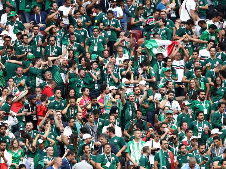 Mexico fans celebrate their win over Germany