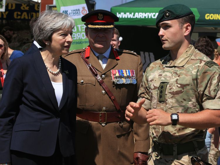 Theresa May during the celebrations for National Armed Forces Day in Llandudno, Wales.