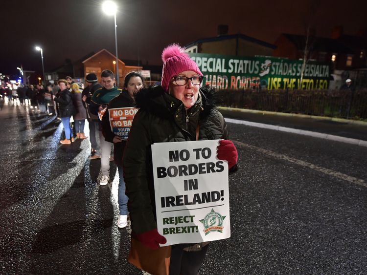 Sinn Fein hold an anti-Brexit rally on December 6, 2017 in Belfast, Northern Ireland