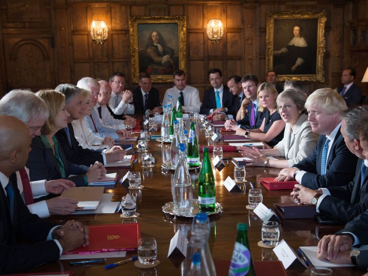 Theresa May holding a cabinet meeting at Chequers in 2016