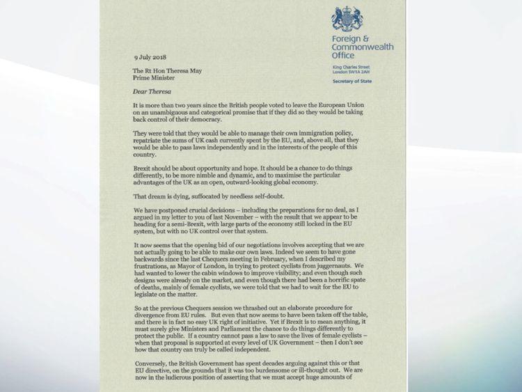 boris resignation letter