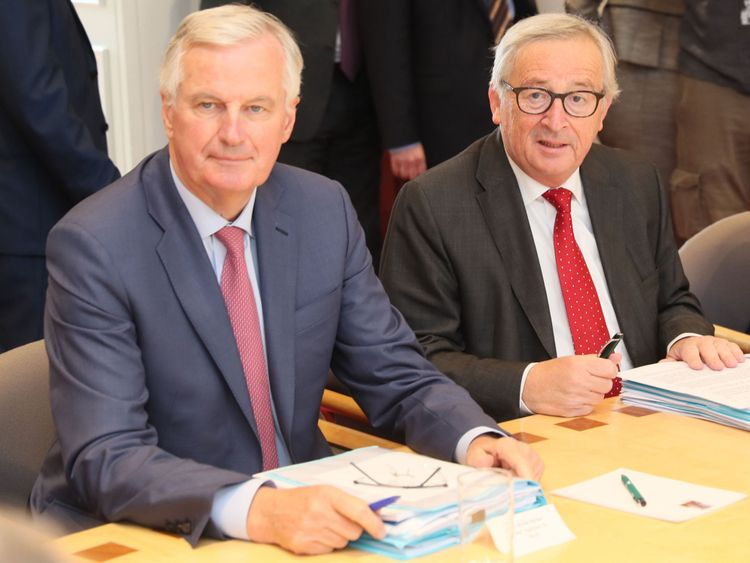 President of the European Commission, Jean-Claude Juncker (right) and Michel Barnier, EU Chief Negotiator for Brexit (left)