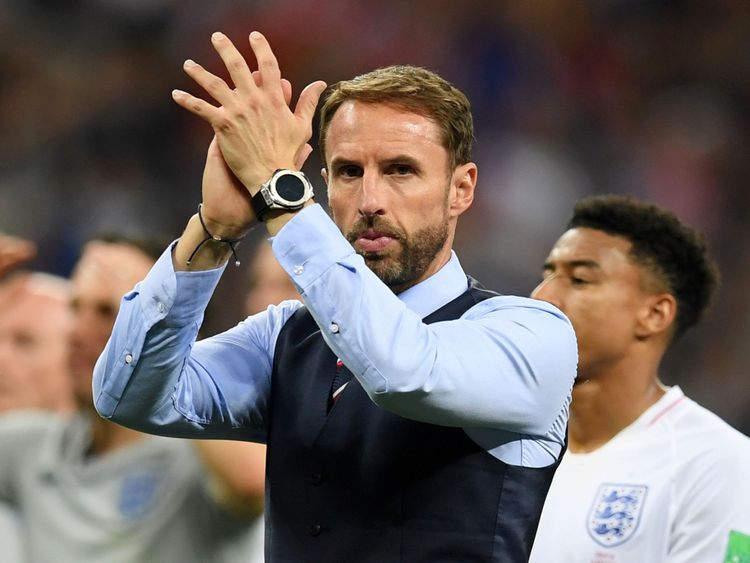 Gareth Southgate applauds England supporters at Moscow's Luzhniki Stadium