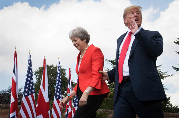 Tory party chaos: May with Trump