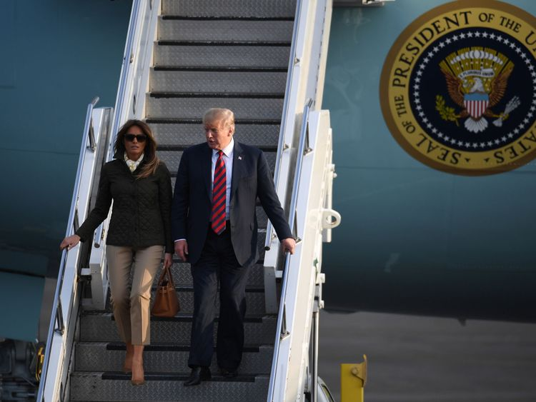 Donald and Melania Trump arrive at Glasgow Prestwick Airport