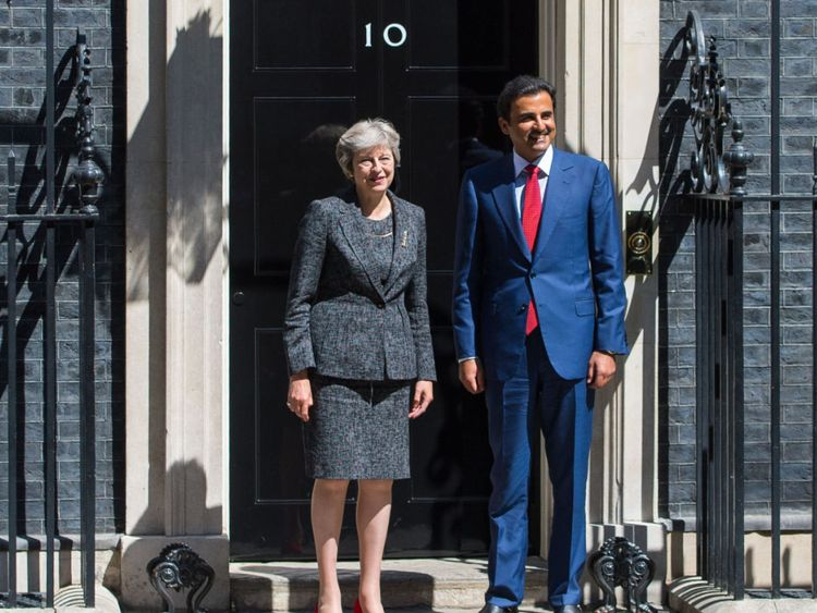 Prime Minister Theresa May greets Emir of Qatar, Tamim bin Hamad Al Thani as he arrives in Downing Street