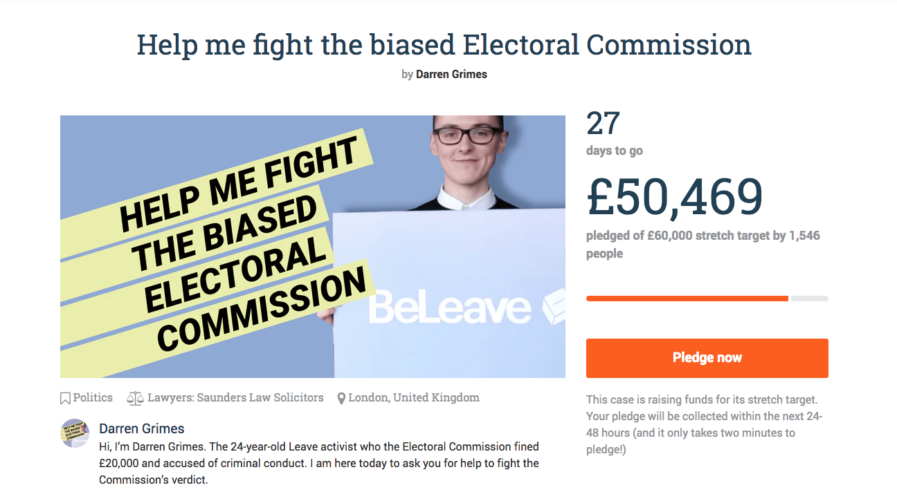 Darren Grimes' crowdfunding page
