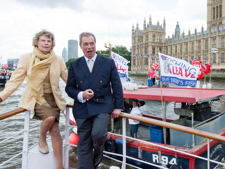 LONDON, ENGLAND - JUNE 15: (L-R) Kate Hoey and Nigel Farage, leader of the UK Independence Party, show their support for the 'Leave' campaign for the upcoming EU Referendum aboard a boat on the River Thames on June 15, 2016 in London, England. Nigel Farage, leader of UKIP, is campaigning for the United Kingdom to leave the European Union in a referendum being held on June 23, 2016. (Photo by Jeff Spicer/Getty Images)