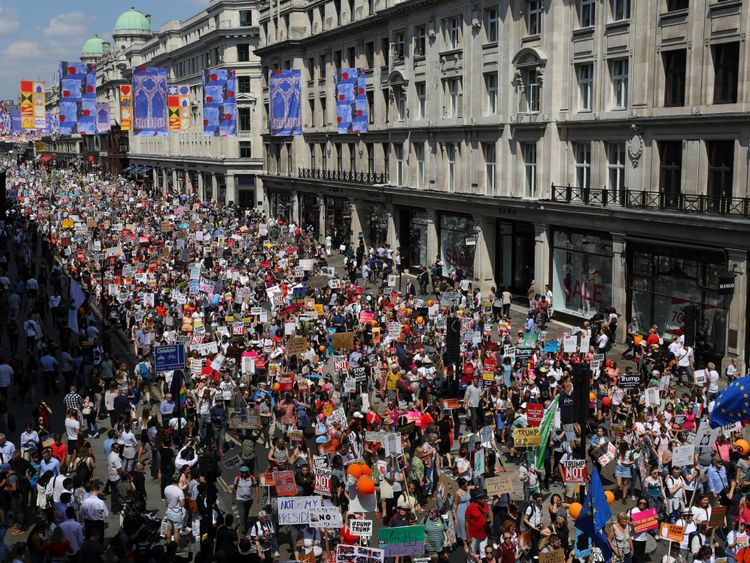Tens of thousands march in London