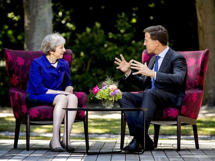 The Dutch and British PMs met as it was announced King Willem-Alexander and Queen Maxima will pay a state visit to the UK in October. Pic: Mark Rutte/Twitter