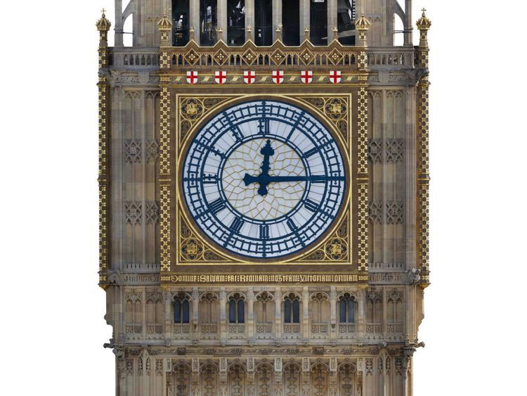 Artist's impression issued by the UK Parliament of a proposed colour scheme for Big Ben