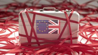 Red tape around a briefcase with european and british flags