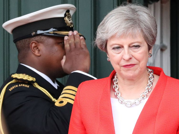 Theresa May arrives to take part in the ceremony to hand over the bell of the SS Mendi in Cape Town