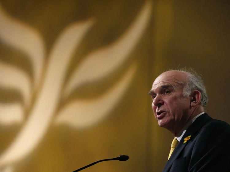 Britain's Business Secretary Vince Cable talks during his keynote speech on the second day of Liberal Democrat