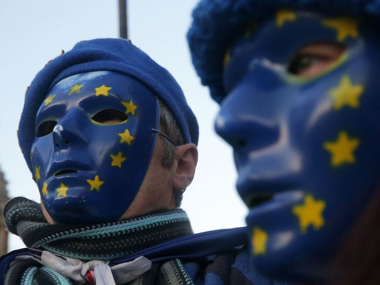 pro-European Union, (EU), anti-Brexit demonstrators wear masks featuring the EU flag outside the Houses of Parliament in central London