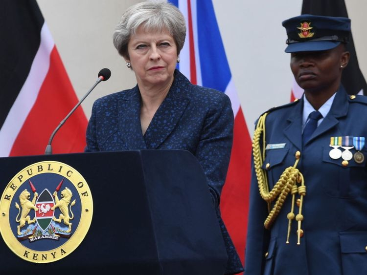 Prime Minister Theresa May during a press conference at the State House in Nairobi, Kenya