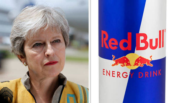 Theresa May and Red Bull drink