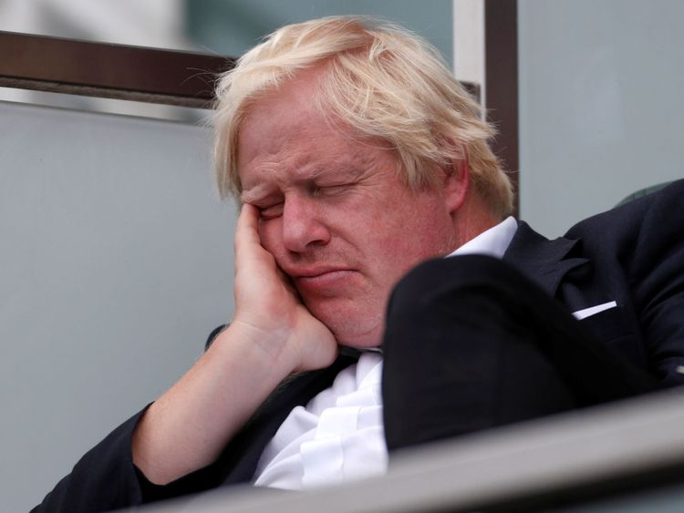 Boris Johnson appeared to doze off at one point