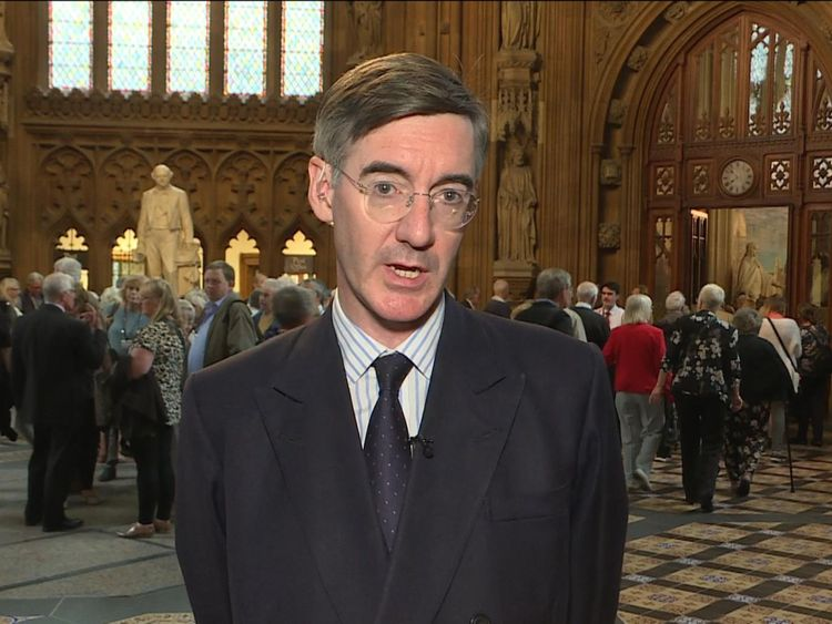 Jacob Rees-Mogg speaking to Sky News after the EFT event